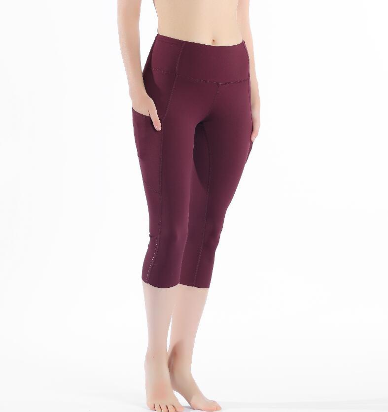 2020 Sports Capris Gym Leggings Super Quality Stretch Fabric camo black wine red capris leggings 3