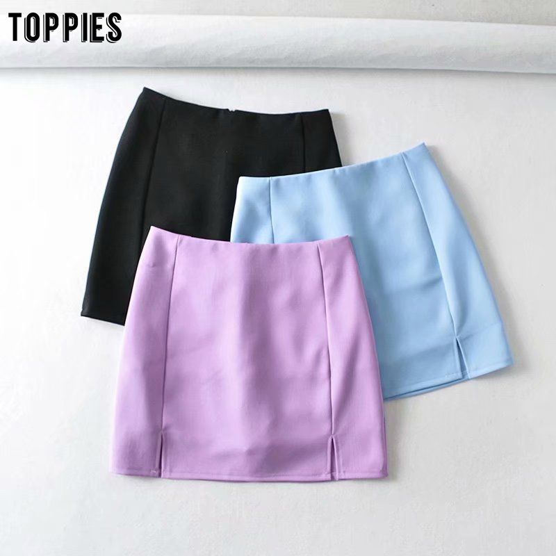 Toppies Sexy Mini Skirts For Women Solid Color Split Summer Skirts Womens High Waist Faldas