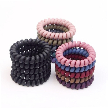 1pc 5.5cm Telephone Wire Hair Ropes Girls Frosted Colorful Elastic Hair Bands Kid Ponytail Holder Tie Gum Hair Accessories image