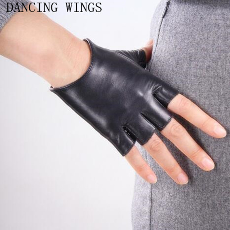 Women's Short Paragraph Sheepskin Semi-Finger Fingerless Gloves Solid Adult White Black Women Driving Mittens