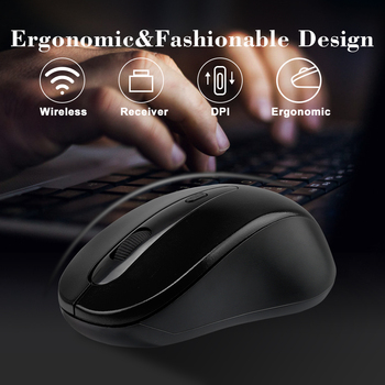 Universal 2.4GHz Wireless Mouse 1600DPI Optical Computer Cordless Office Mice with USB Receiver