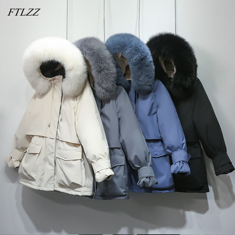 FTLZZ New Winter Jacket Women Large Natural Fox Fur White Duck Down Coat Thick Snow Parkas Warm Sash Tie Up Outerwear