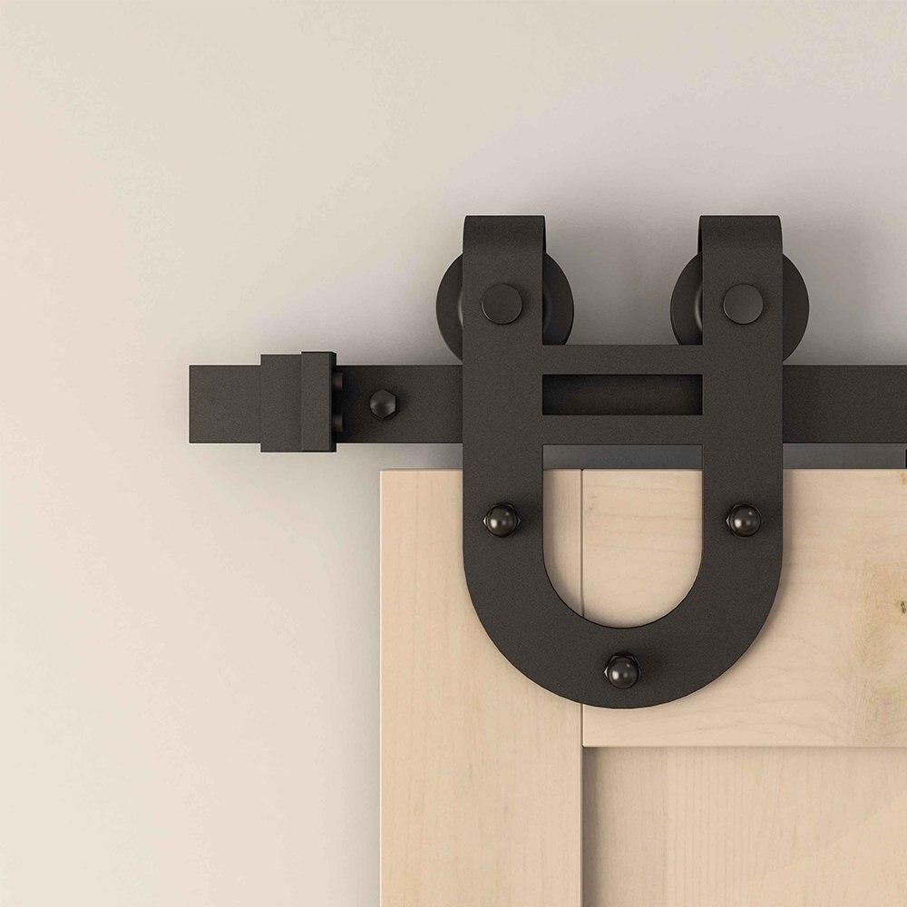 Rouleau de cintre de matériel de porte coulissante de grange de finition rugueuse noire mate simple, fer à cheval de bâti latéral - 2