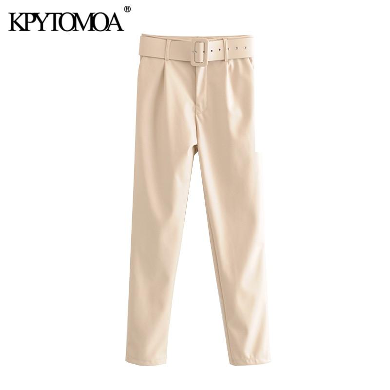Vintage Stylish Office Wear PU Faux Leather With Belt Pants Women 2020 Fashion High Waist Zipper Fly Female Trousers Pantalones