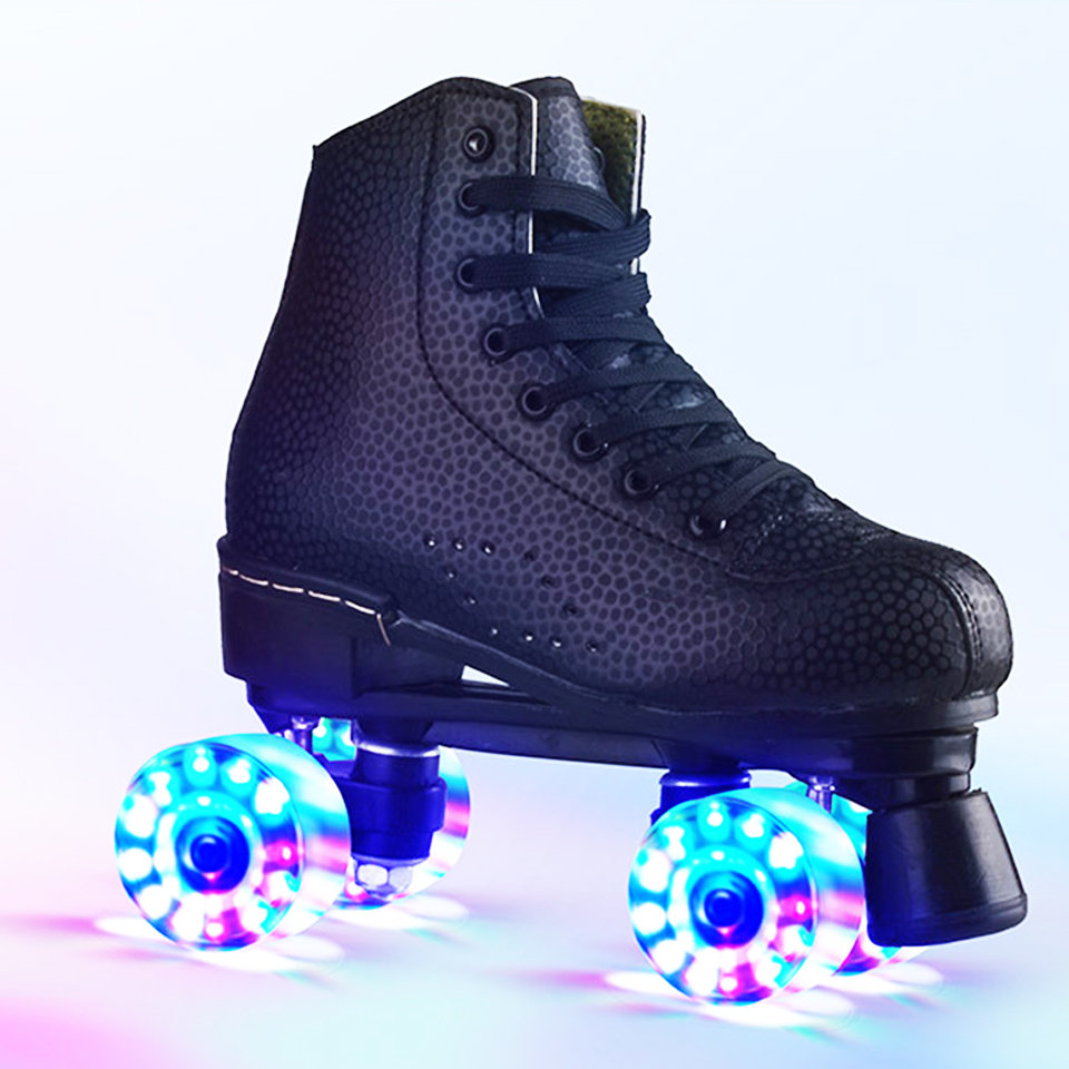 JK Skates Adult PU Leather Quad Roller Skates Double Line Skates Two Line Skating Shoes Patines PU Flash Or No Flash Wheels