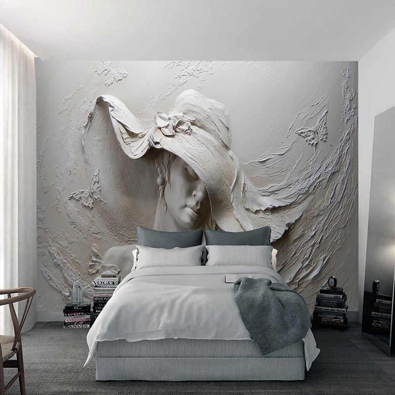 מותאם אישית קיר טפט 3D בולט דמות פיסול תמונת ציורי קיר דביק עמיד למים קיר מדבקות סלון פרסקו