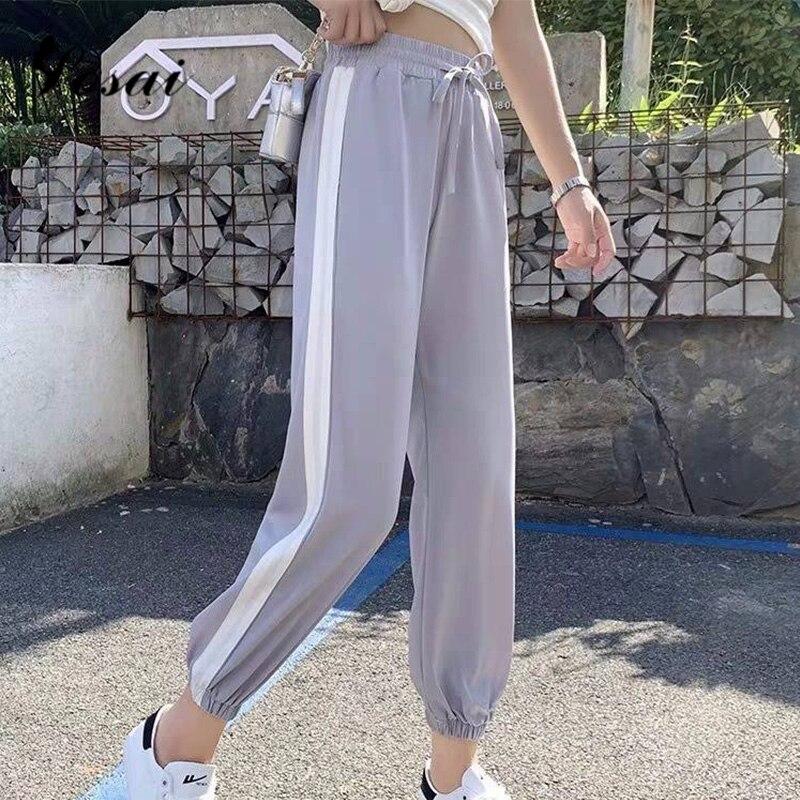 Fashion Casual Sweatpants Pants Side-Stripe Women Loose Elastic Waist Sportswear Women'S Pants New Bottoms 2019 Joggers Clothes