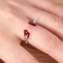 Joke-Toy Scary-Toy Blood-Ring Gags Piercing Nail-Through-Finger-Trick Bleed Prank Halloween