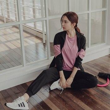 Fitness Women Yoga Set 4 in 1 Black Yoga Bra & Letter Jacket &T-Shirts & Sport Pants  Gym Clothes Sport Wear Running Outdoor Jog