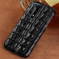 Funda de piel de cocodrilo para móvil, carcasa 100% Original para Huawei P50 Pro P40 Lite P30 P20 Mate 40 20 Pro, Honor 50 20 Pro 10 Lite 9X 8X