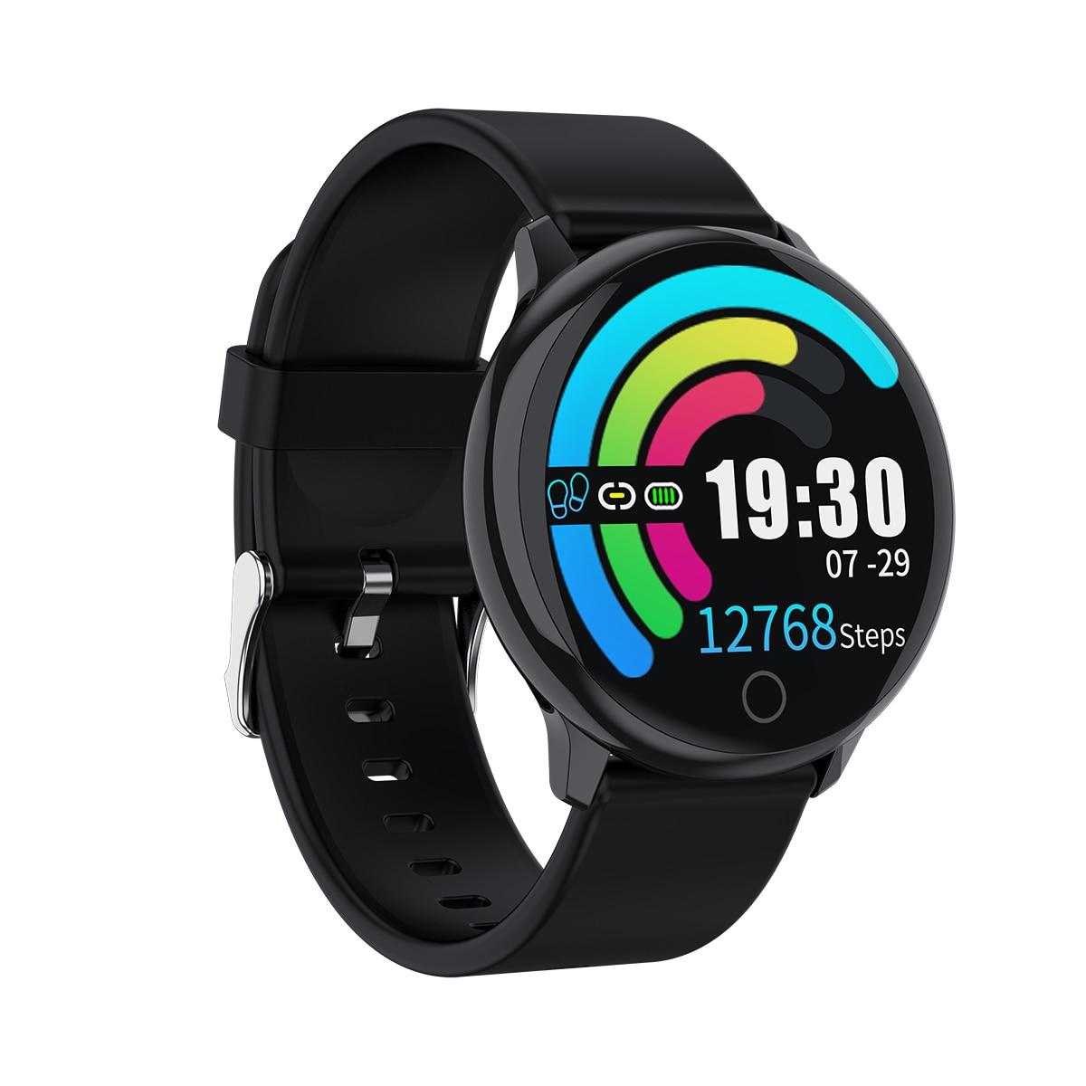Newwear Q16 Smart Watch Men Full Touch Screen Silicone Steel Belt Black Wristband Waterproof Heart Rate Monitor Sport Smart Band