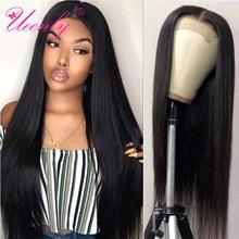Ueenly cabelo humano liso, 4x4 de fechamento, peruca brasileira, cabelo liso, fechamento, pré selecionado, cabelo novo, remy perucas frontal renda