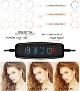 Image 5 - 10Inch Led Ring Licht Met 110Cm Statief Voor Mobiele Telefoon Mini Led Camera Ringlicht Voor Video Fotografie Make Up youtube Bloggers
