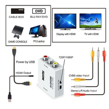 HDMI К AV скейлер адаптер HD видео конвертер коробка HDMI к RCA AV/CVSB L/R видео 1080P HDMI2AV Поддержка NTSC PAL для ноутбука