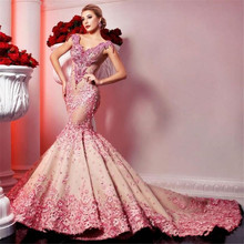 Luxury Crystals Flowers Lace Mermaid Prom Dresses Long V Nec