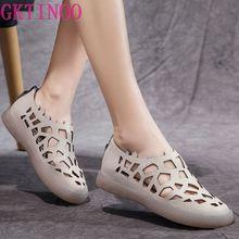 GKTINOO Handmade Women's Flats Shoes 2020 Summer Genuine Leather Rome S