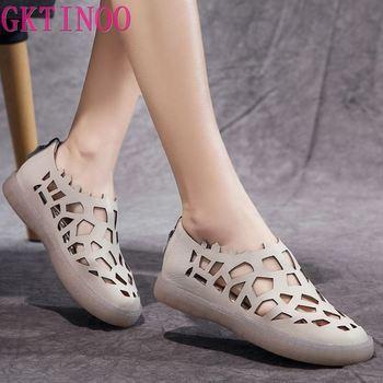GKTINOO Handmade mieszkania buty damskie 2020 lato prawdziwej skóry sandały Hollow Hole kobieta Retro stałe sandały gladiatorki