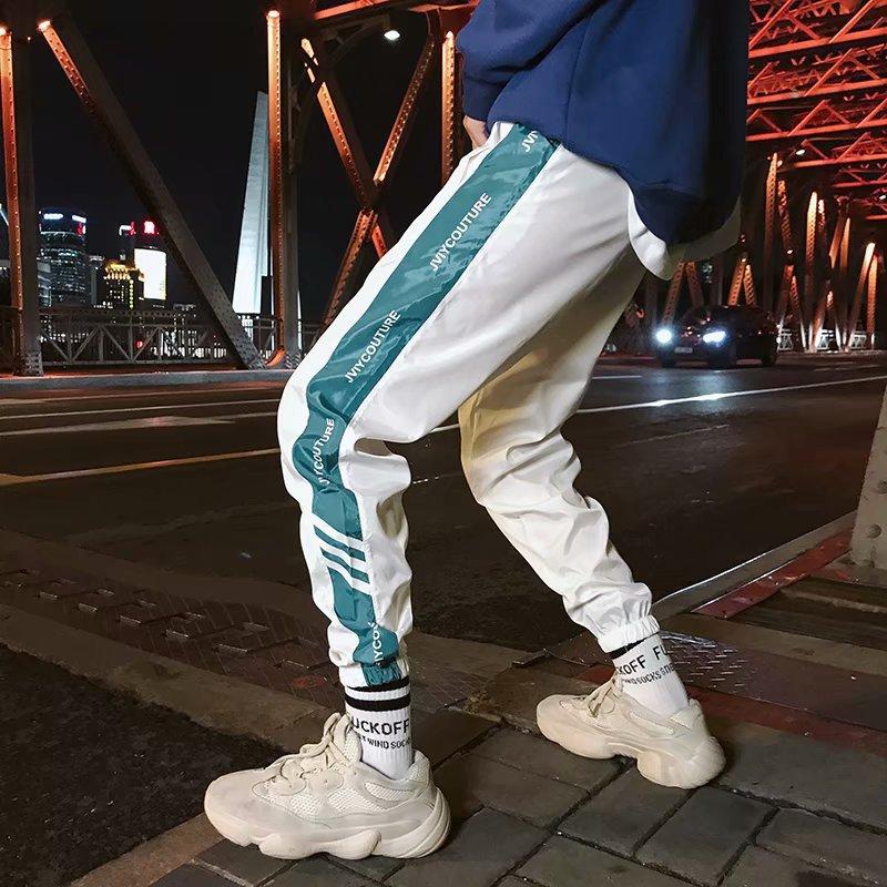 Summer New Style Youth Fashion Man Slim Fit Skinny Pants Harem Pants Thin Casual Pants Men Students Three Bars Athletic Pants