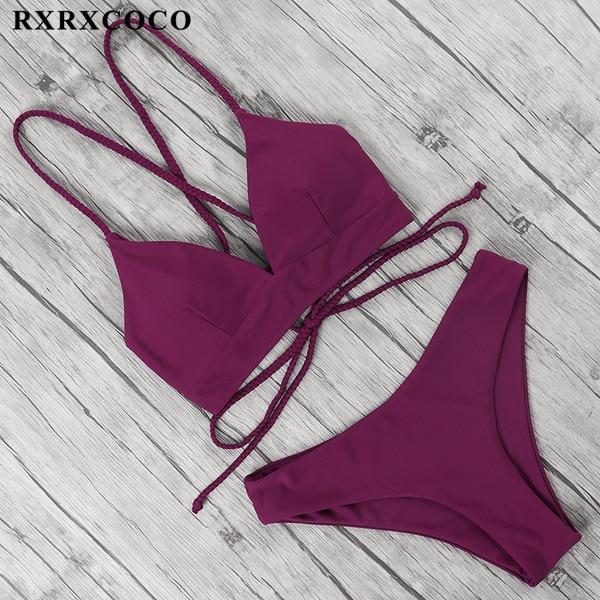 RXRXCOCO Bandage Swimwear Women Brazilian Bikini Swimsuit Female Thong Bikini Set Bathing Suit Push Up Flower biquini swimsuit 6