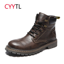 CYYTL Men Leather Fashion Boots 2019 Ankle Shoes Lace-up Winter Warm Safety Sneakers Bota Masculina Snow Outside Botas Hombre