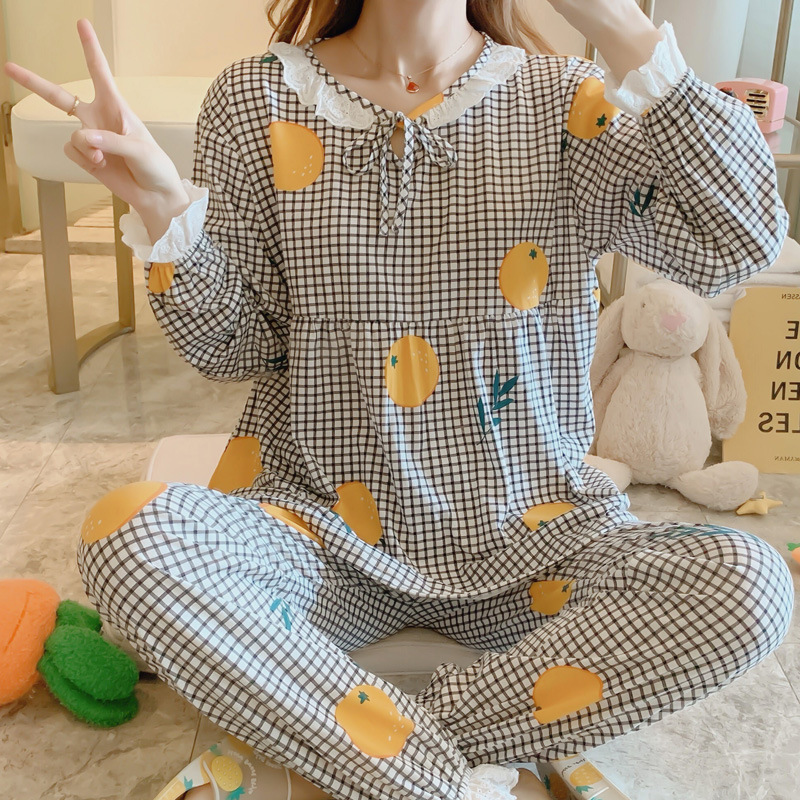 Korean-style Pajamas Women's Spring And Autumn Long Sleeve Pure Cotton Loose Thin Tracksuit Cute Lemon-Outer Wear Two-Piece Set