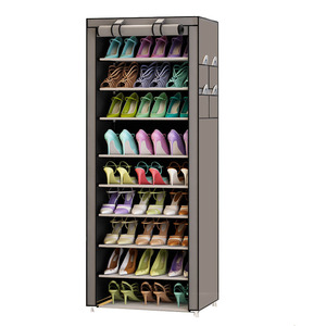 Image 1 - 9 Tier Modern Shoe Shelves Oxford Cloth Shoe Stool Storage Cabinet Multi purpose Shoes Rack DIY Shoes Organizer Case Space Saver