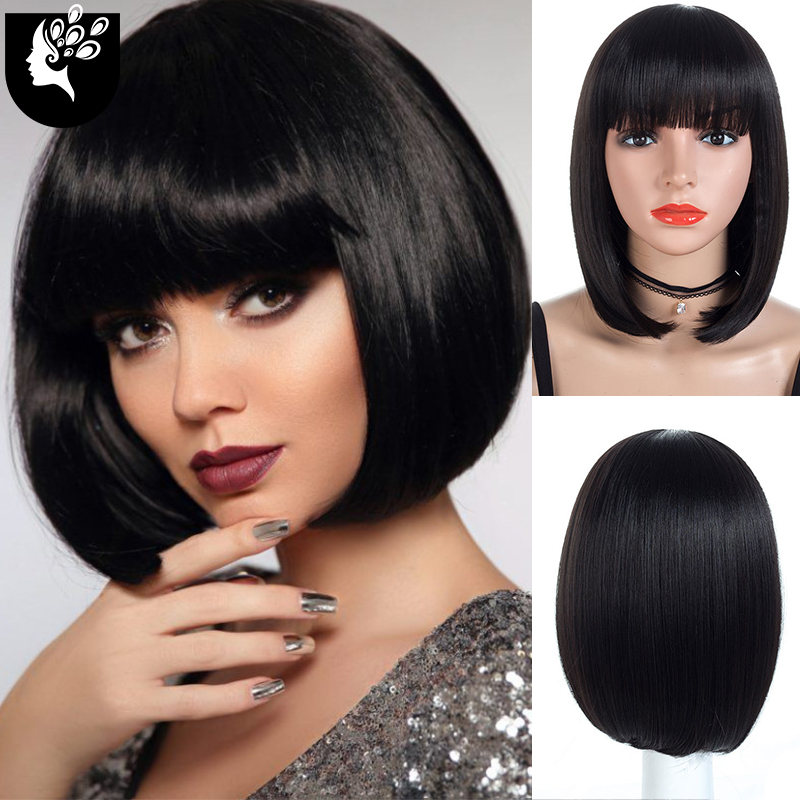 YOUR BEAUTY HAIR Short Bob Wig With Bangs for Women Synthetic Bob Wigs Black Pink Purple Wig for Party Daily Use Shoulder Length