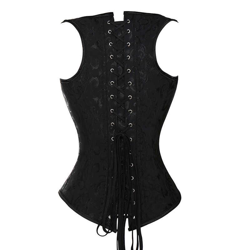 VASLANDA женский Готический стимпанк корсет под грудь Бюстье Топ винтажный Ретро баскский жилет корсет для тренировки на талию моделирующий ремень