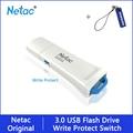 Netac Флешка 128 Гб 64 Гб защита записи зашифрованный USB флеш-накопитель 32 16 ГБ флеш-накопитель 3,0 USB флешка диск на ключе памяти для телефона