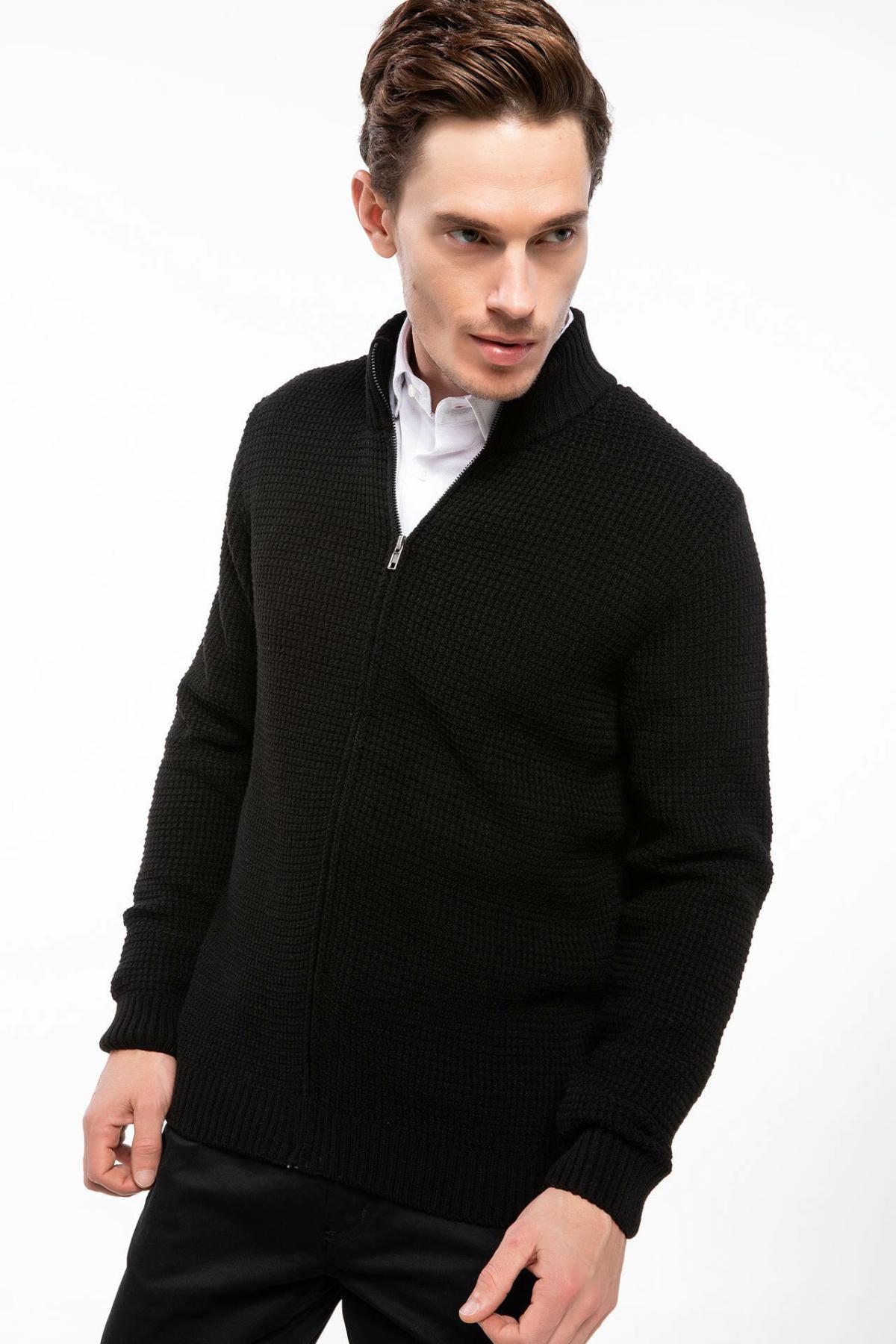 DeFacto Men Casual Fashion Pure Color Stand Collar Jacket Men Fashion Warm Jumper Coat Men Autumn New-J1623AZ18AU