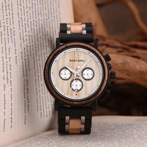 Image 5 - BOBO VOGEL Mens Wood Horloges Topmerk Luxe Militaire Rvs Chronograph Horloge Grooms Gift relojes para hombre