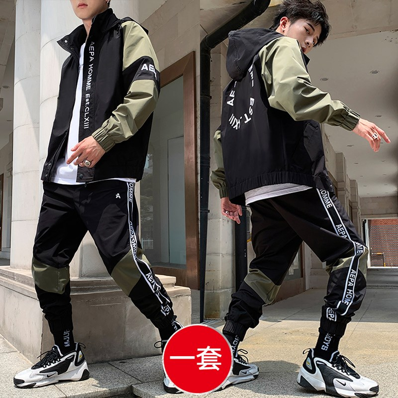 2020 Sportssuit Male Two-piece Junior Leisure Tooling Jacket Male