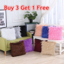 Buy 3 Get 1 Free Super Soft Plush Throw Cushion Covers Winter Warm Mongolian Faux Fur Home Pillow Cases(China)