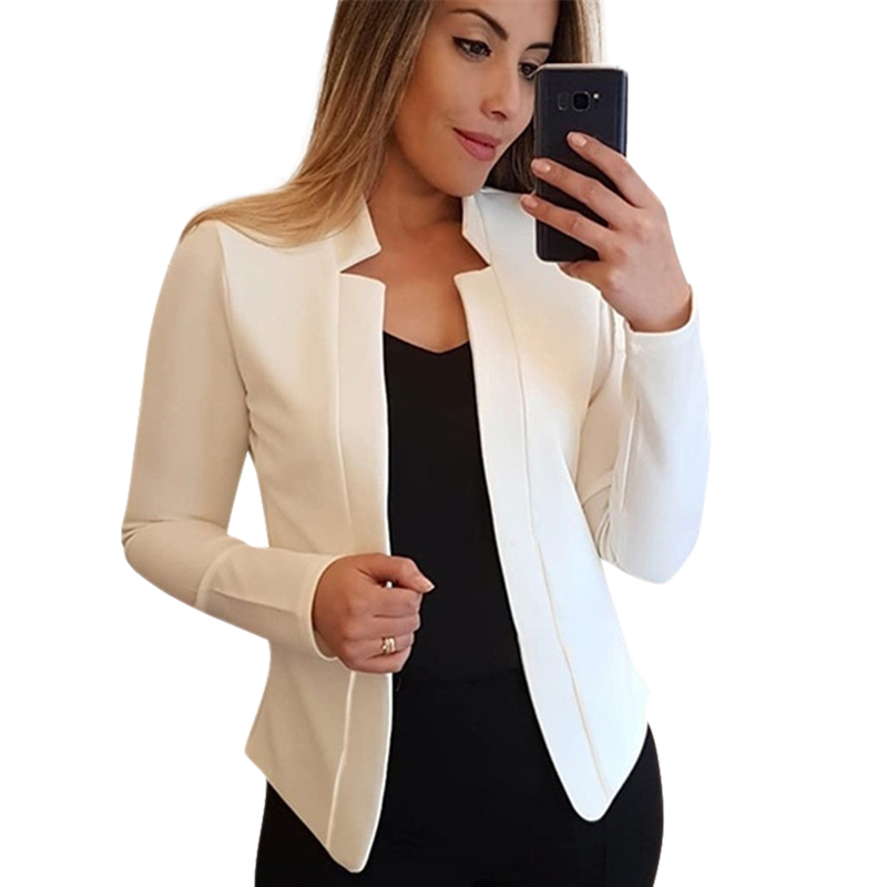 2019 Autumn New Women Blazer Solid Casual Long Sleeve Blazers Coat Slim Office Lady Suits Female Tops