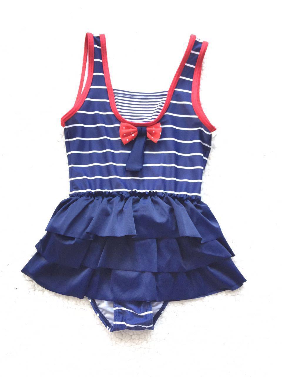 Children Navy Stripes One-piece Swimming Suit Jinguoyiyi Stripes Hem Girls Anti-Purple One-piece CHILDREN'S Swimwear