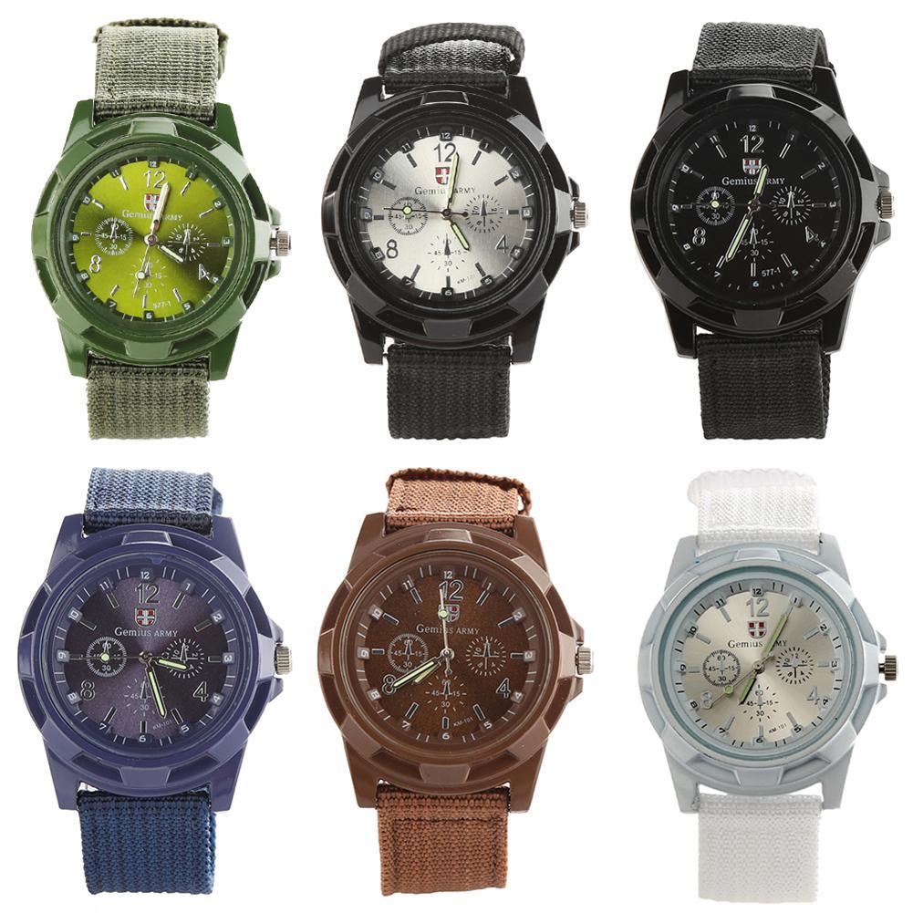 Casual Men Wrist Watch Fashion  Army Style Nylon Band Sports Clock Analog Quartz Wrist Watch Reloj Hombre Relogio Feminino