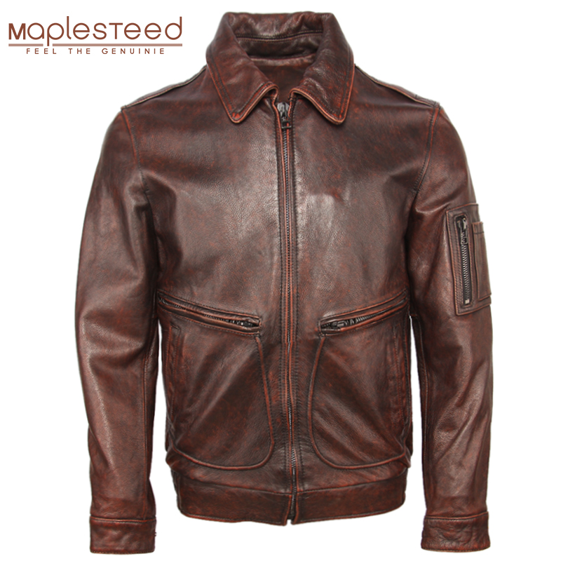 Vintage Distressed Men Leather Jacket Thick 100% Cowhide Air Force Flight Jacket Avaitor Leather Coat Winter Clothing M107