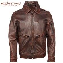 Vintage Distressed mężczyźni skórzana kurtka gruba 100% skóra bydlęca Air Force Flight Jacket Aviator skórzany płaszcz odzież zimowa M107