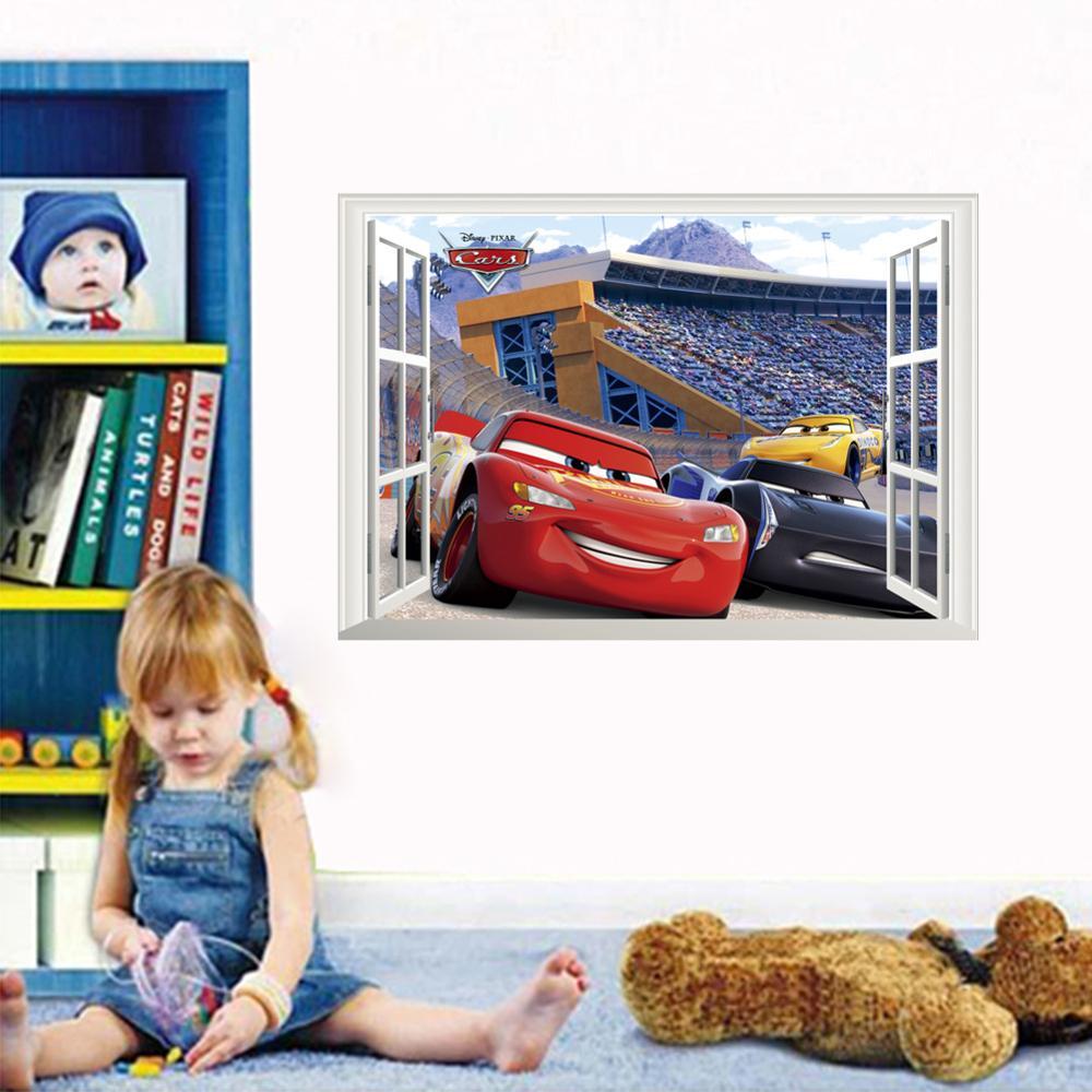 Cartoon Mcqueen Cars 3D Wall Stickers for Kids Room Boys Fake Window PVC Wallpaper Murals Sticker Decals Room Decoration Nursery 24