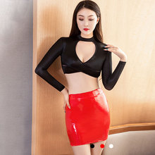 Mini-Skirt Pencil-Package Faux-Leather Sexy Wet-Look Tight Club Dance PU Shiny OL