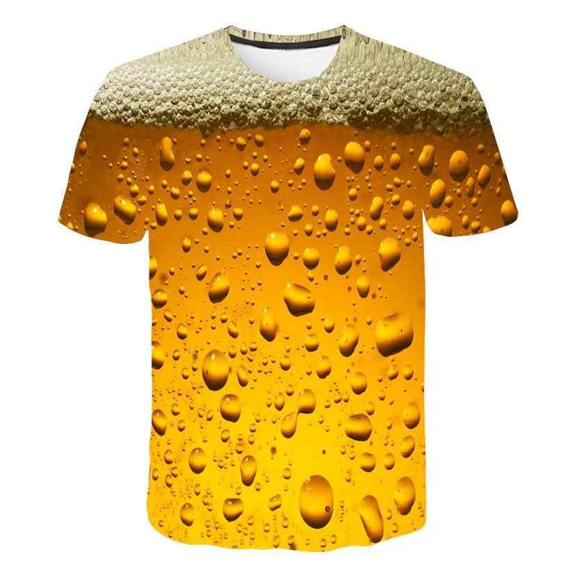 Nuova Estate T-Shirt 3D Birra Lettere di Stampa Delle Donne Degli Uomini Divertente Della Novità T Shirt O-Collo Manica Corta Magliette E Camicette Moda di Strada Homme top Magliette