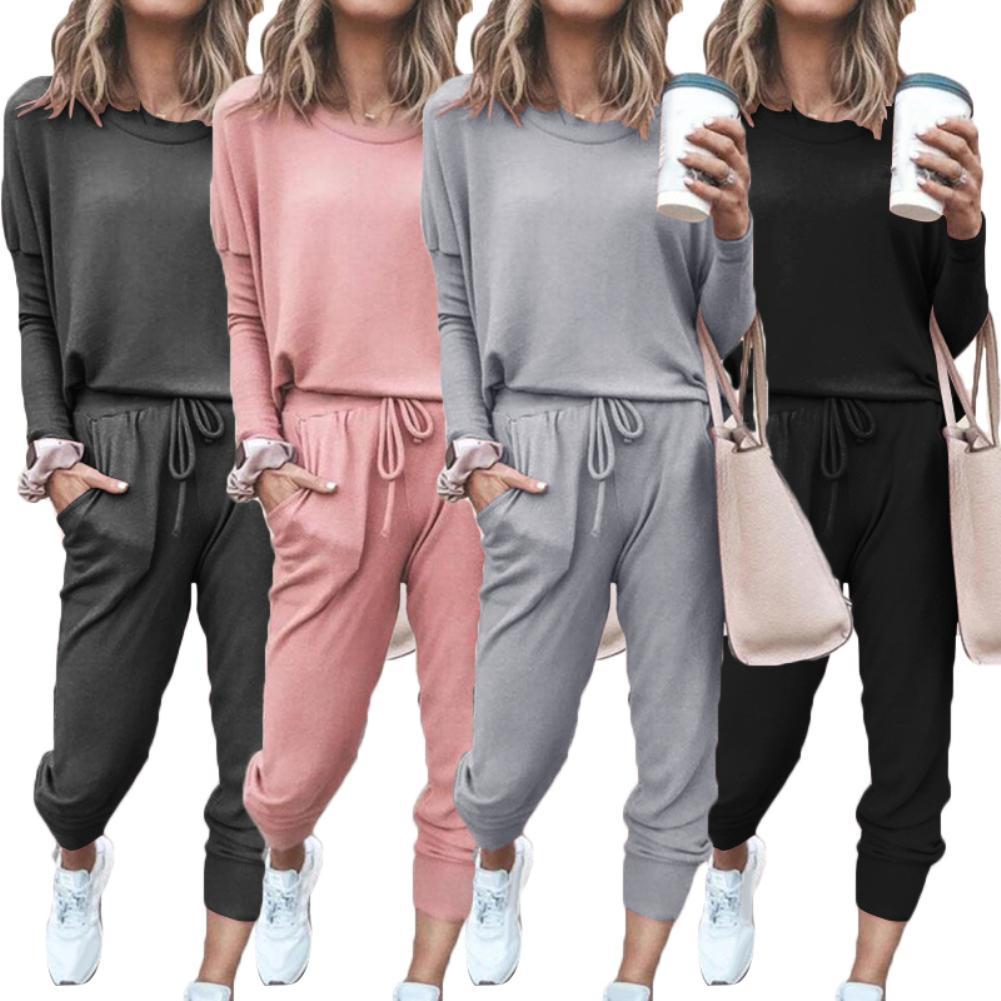 Women Solid Color Long Sleeve O Neck Blouse Top Drawstring Pants Sport Tracksuit Sports shirts autumn winter set Tracksuit Women