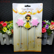first birthday girl party decoration supplies cake candle decorating princess snow white