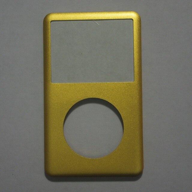 Para ipod clássico preto prata cinza ouro vermelho luz roxo verde azul capa frontal com botão de vidro