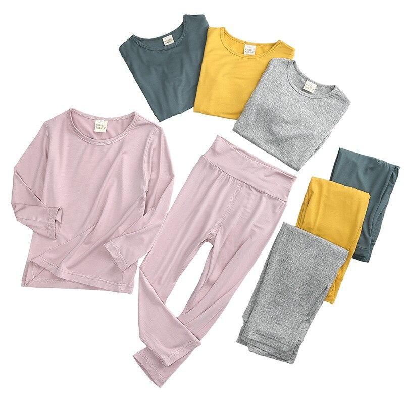 Autumn Solid Cotton Baby Kids Knitted Underwear Set Top High Waist Long Johns Children Sleepwear For Boys Girls Clothes
