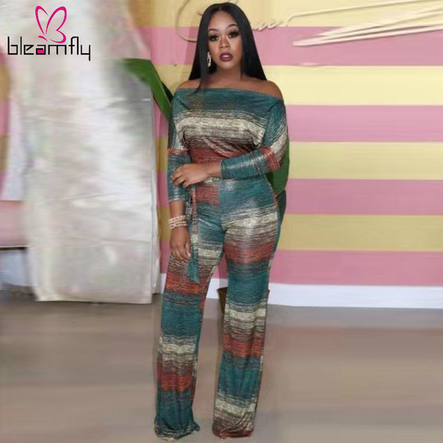 $ US $24.07 Casual Stripe Two Piece Tracksuit Women Summer 2019 Off Shoulder Slash Neck Long Sleeve Top And Wide Leg Pants Vintage Outfits
