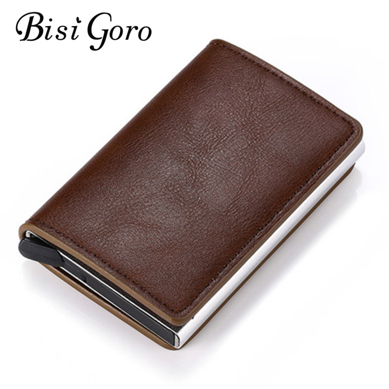 BISI GORO RFID Wallet Aluminum Box Credit Card Holder Pop-Up Clutch Card Case For 2019 New Slim Mini Wallet Security Card Case