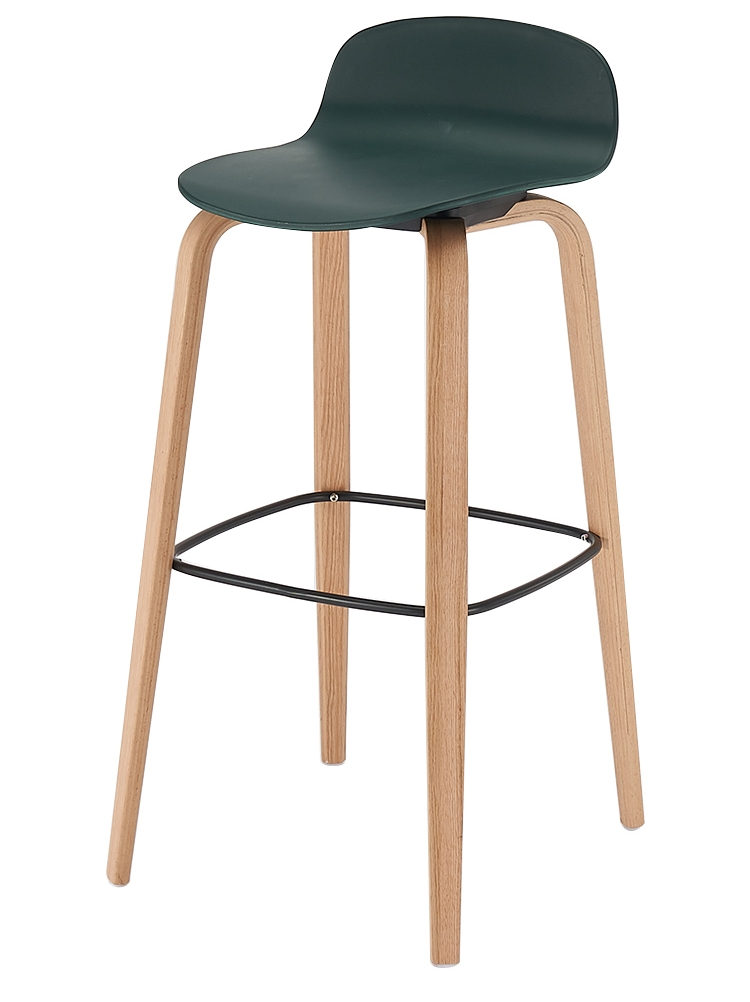 Nordic simple modern INS style personality solid wood legs plastic surface gray seat bar chair stool bar stool high stool