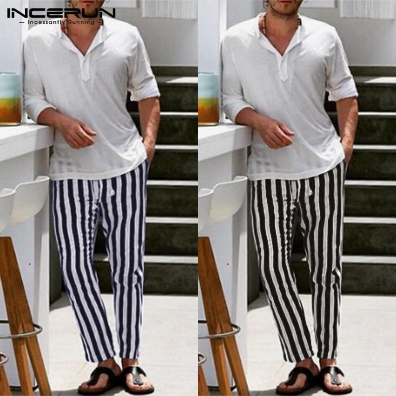 Plus Size Men Elegant Vertical Stripes Elastic Waist Pants Korean Business Style INCERUN Leisure Trousers Slim Trend Mens Pants