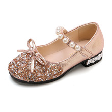 Girls Princess Shoes Kids Crystal Leather Shoes Summer Children's pearl Shoes Heels Baby Soft-soled  for Party Aweet Bow-knot